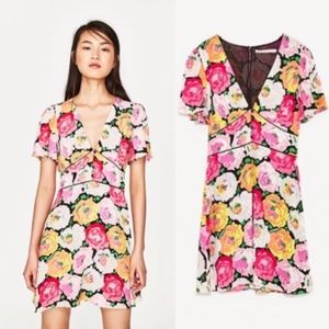 Zara | Large Floral Print Mini Dress